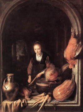 Woman Painting - Woman Peeling Carrot Golden Age Gerrit Dou