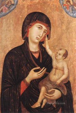 madonna Painting - Madonna with Child and Two ANgels Crevole Madonna Sienese School Duccio