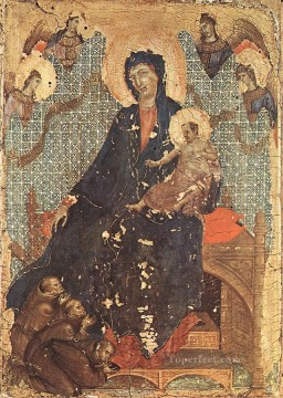 Franciscan Painting - Madonna of the Franciscans Sienese School Duccio