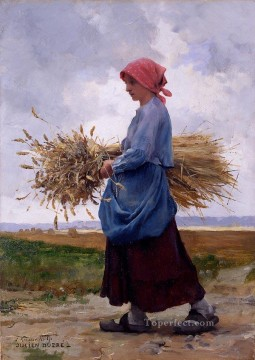 Julien Dupre Painting - Returning from the fields2 farm life Realism Julien Dupre