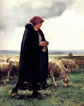 Julien Dupre Painting - A Sheperdess With Her Flock farm life Realism Julien Dupre