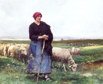 Julien Dupre Painting - A Shepherdess with her flock farm life Realism Julien Dupre