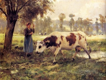Julien Dupre Painting - Cows At Pasture farm life Realism Julien Dupre