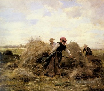 Julien Dupre Painting - The Harvesters farm life Realism Julien Dupre