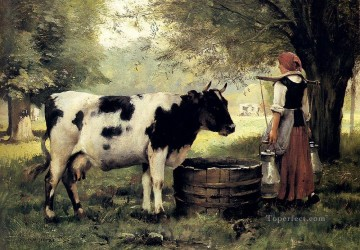 Julien Dupre Painting - The Milkmaid farm life Realism Julien Dupre