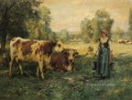 A Milk Maid with Cows and Sheep farm life Realism Julien Dupre