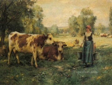 Julien Dupre Painting - A Milk Maid with Cows and Sheep farm life Realism Julien Dupre