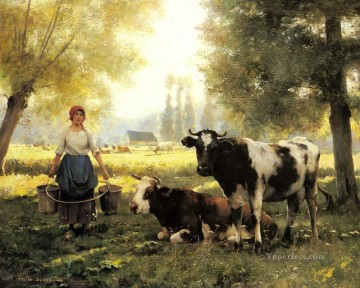 Julien Dupre Painting - A Milkmaid With Her Cows On A Summer Day farm life Realism Julien Dupre