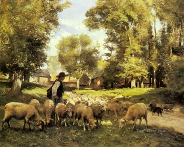 Julien Dupre Painting - A Shepherd And His Flock farm life Realism Julien Dupre