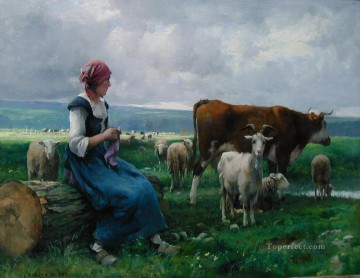 Julien Dupre Painting - Dhepardes with goat sheep and cow farm life Realism Julien Dupre