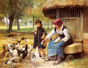 realism painting - Feeding Time farm life Realism Julien Dupre