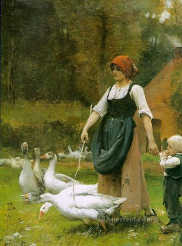 Julien Dupre Painting - In the Meadow farm life Realism Julien Dupre