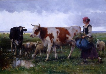 Julien Dupre Painting - Peasant woman with cows and sheep farm life Realism Julien Dupre
