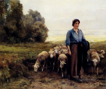 Julien Dupre Painting - Shepherdess With Her Flock farm life Realism Julien Dupre