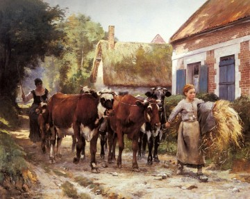 Julien Dupre Painting - Returning From The Fields farm life Realism Julien Dupre