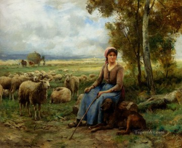 Julien Dupre Painting - Shepherdess Watching Over Her flock farm life Realism Julien Dupre