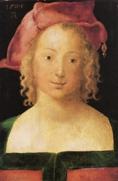Albrecht Durer Painting - Face a young girl with red beret Albrecht Durer