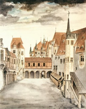 Inn Painting - Courtyard of the Former Castle in Innsbruck with Clouds Albrecht Durer