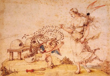 Albrecht Durer Painting - Cupid the Honey Thief Albrecht Durer