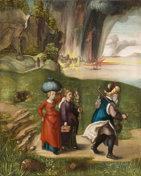 Daughters Art - Lot Fleeing with his Daughters from Sodom Nothern Renaissance Albrecht Durer