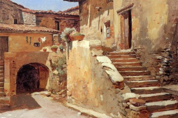 Italian Courtyard scenes Frank Duveneck Oil Paintings