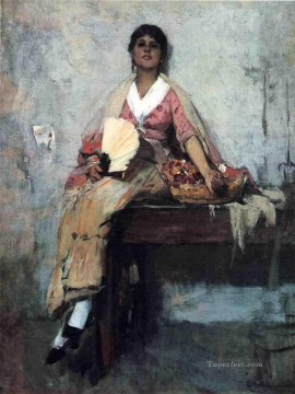 Flower Girl portrait Frank Duveneck Oil Paintings