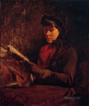 Girl Reading portrait Frank Duveneck Oil Paintings