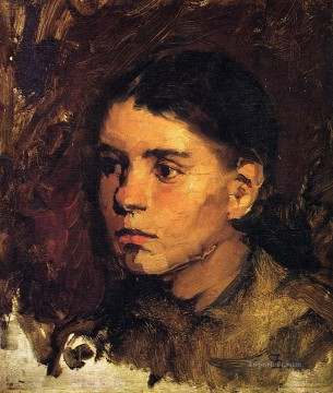 Head of a Young Girl portrait Frank Duveneck Oil Paintings