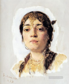 Head of an Oriental Woman portrait Frank Duveneck Oil Paintings