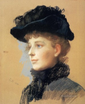 portrait Painting - Portrait of a Woman with Black Hat portrait Frank Duveneck