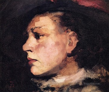 profil Works - Profile of Girl with Hat portrait Frank Duveneck