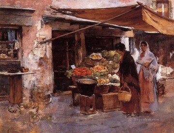 Venetian Fruit Market portrait Frank Duveneck Oil Paintings