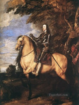Anthony van Dyck Painting - CharlesI on Horseback Baroque court painter Anthony van Dyck