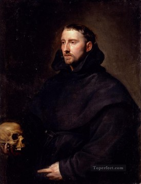 equestrian portrait of maria luisa of parma Painting - Portrait Of A Monk Of The Benedictine Order Holding A Skull Baroque court painter Anthony van Dyck