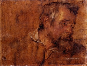 Beard Canvas - Profile Study Of A Bearded Old Man Baroque court painter Anthony van Dyck