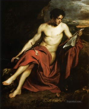 Saint John the Baptist in the Wilderness Baroque court painter Anthony van Dyck Oil Paintings