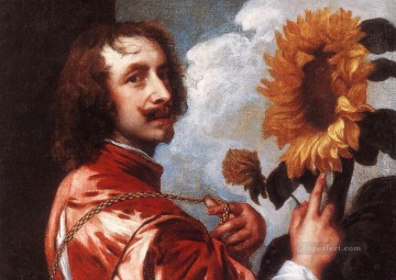 sunflower sunflowers Painting - Self Portrait with a Sunflower Baroque court painter Anthony van Dyck