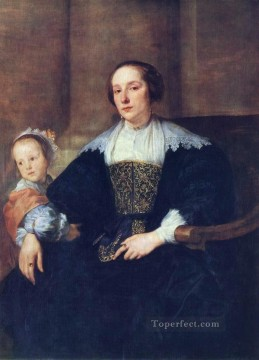 The Wife and Daughter of Colyn de Nole Baroque court painter Anthony van Dyck Oil Paintings