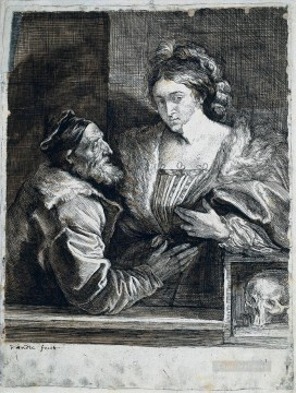 Titian Oil Painting - Titians Self Portrait with a Young Woman Baroque court painter Anthony van Dyck