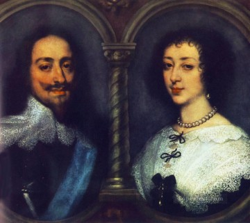 CharlesI of England and Henrietta of France Baroque court painter Anthony van Dyck Oil Paintings