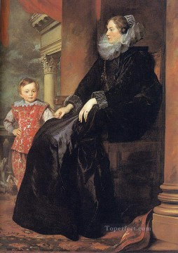 Anthony van Dyck Painting - Genoese Noblewoman with her Son Baroque court painter Anthony van Dyck