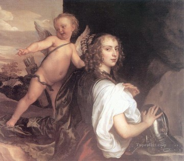 Portrait of a Girl as Erminia Accompanied by Cupid Baroque court painter Anthony van Dyck Oil Paintings
