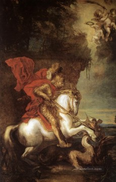 Anthony van Dyck Painting - St George and the Dragon Baroque court painter Anthony van Dyck