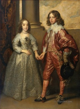 William II Prince of Orange and Princess Henrietta Mary Stuart Baroque court painter Anthony van Dyck Oil Paintings