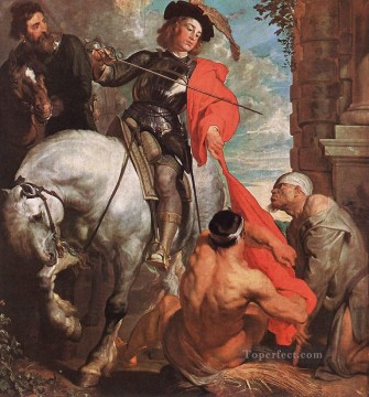 Anthony van Dyck Painting - St Martin Dividing his Cloak Baroque court painter Anthony van Dyck