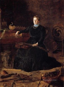 portrait portraits Painting - Antiquated Music aka Portrait of Sarah Sagehorn Frishmuth Realism portraits Thomas Eakins