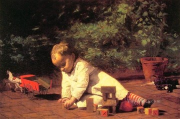 realism painting - Baby at Play Realism Thomas Eakins