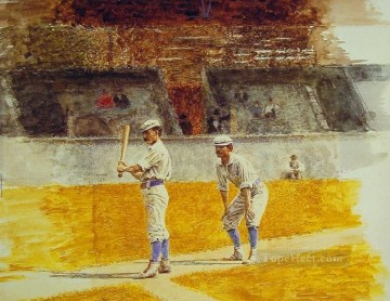 Thomas Eakins Painting - Baseball Players Practicing Realism portraits Thomas Eakins