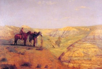 cowboy Painting - Cowboys in the Bad Lands Realism landscape Thomas Eakins