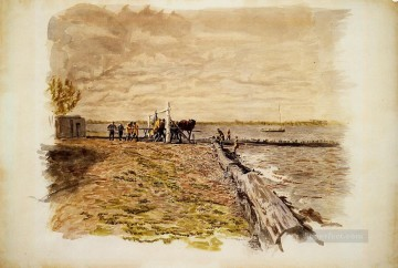 Thomas Eakins Painting - Drawing the Seine Realism landscape Thomas Eakins